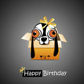 Happy Birthday smile dog gift — Stock Vector