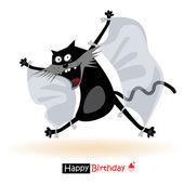 Happy Birthday smile flying cat — Stock Vector