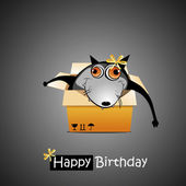 Happy Birthday smile gift wolf — Stock Vector