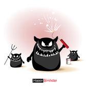 Happy Birthday smile monster cartoon — Stock Vector