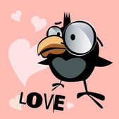 Happy Valentine's Day bird smile love — Vector de stock
