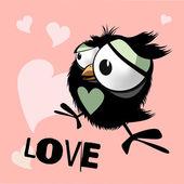 Happy Birthday funny little bird love — Vector de stock