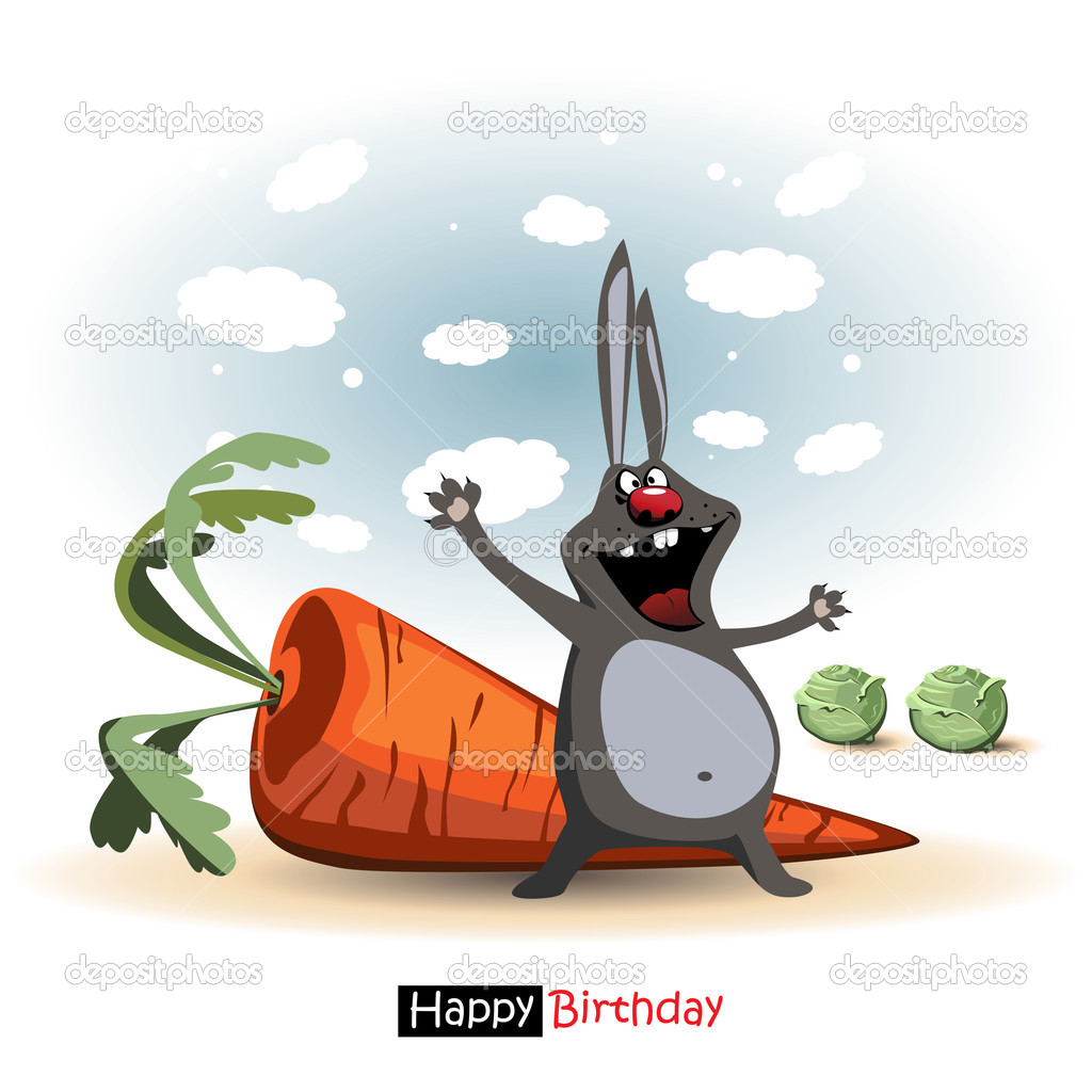 Joyeux anniversaire sourire dr le lapin avec cadeau carotte et chou image vectorielle novkota1 - Cadeau utile et drole ...
