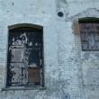 The door and window of an Old Derelict mill — Stock Photo