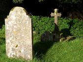 Gravestones in a corner — Stock Photo