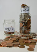 Saving up With Coins in Jars — Stock Photo