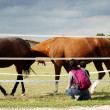 Stock Photo: Mother and child in front of horse gate
