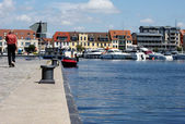 Harbor in Waren — Stock Photo