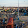 Freight Trains and Railways on big railway station — Stock Photo