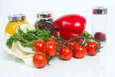 Various fresh vegetables and spices on white background. — Stock Photo