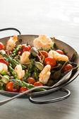 Shrimps and Asparagus stir-fried — Stock Photo