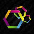 Three Colorful Hexagon — Vector de stock #14772597