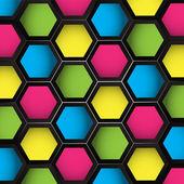 Colored Hexagons Seamless — Stock Vector