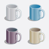 Simple Colored Mugs — Stock Vector