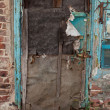 Old dilapidated ragged door — Foto Stock