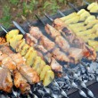 Shashlik - cooking barbecue — Stock Photo