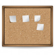 Stock Vector: Cork board with blank notes