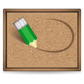 A cork board with pencil — Stock Vector