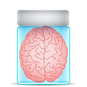 Brain in glass jar — Stock Vector