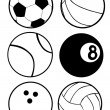 Black And White Sports Balls - Stock Vector