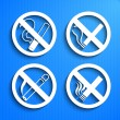 No smoking symbols — Stock Vector