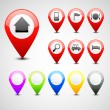 GPS pin set — Stock Vector