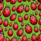 Seamless ladybug background — Stock Vector