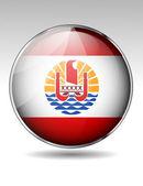 French Polynesia flag button — Stock Vector