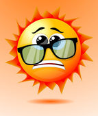 Cute worried cartoon sun — Stock Vector