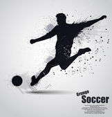 Grunge soccer player — Stock Vector
