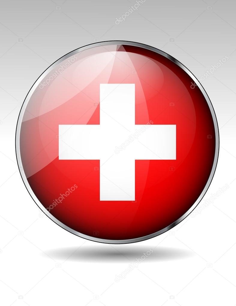 瑞士国旗按钮 — 矢量图片作者