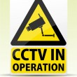 CCTV in operation sign — Stock Vector