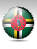 Dominica flag button — Stock Vector