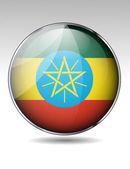 Ethiopia flag button — Stock Vector