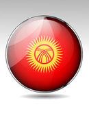 Kyrgyzstan flag button — Stock Vector
