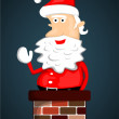 Santa Claus stuck in chimney — Stock Vector