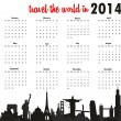 Stock Vector: Travel world in 2014 calendar