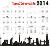 Travel the world in 2014 calendar — Stock Vector