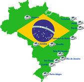 Brazil soccer stadium map — Stock Vector