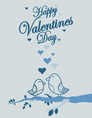 Cute birds Valentines Day background — Vector de stock