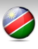 Namibya bayrak düğmesini — Stok Vektör