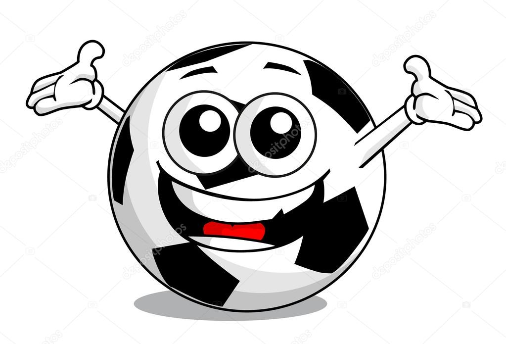 Pallone da calcio cartone animato — vettoriali stock