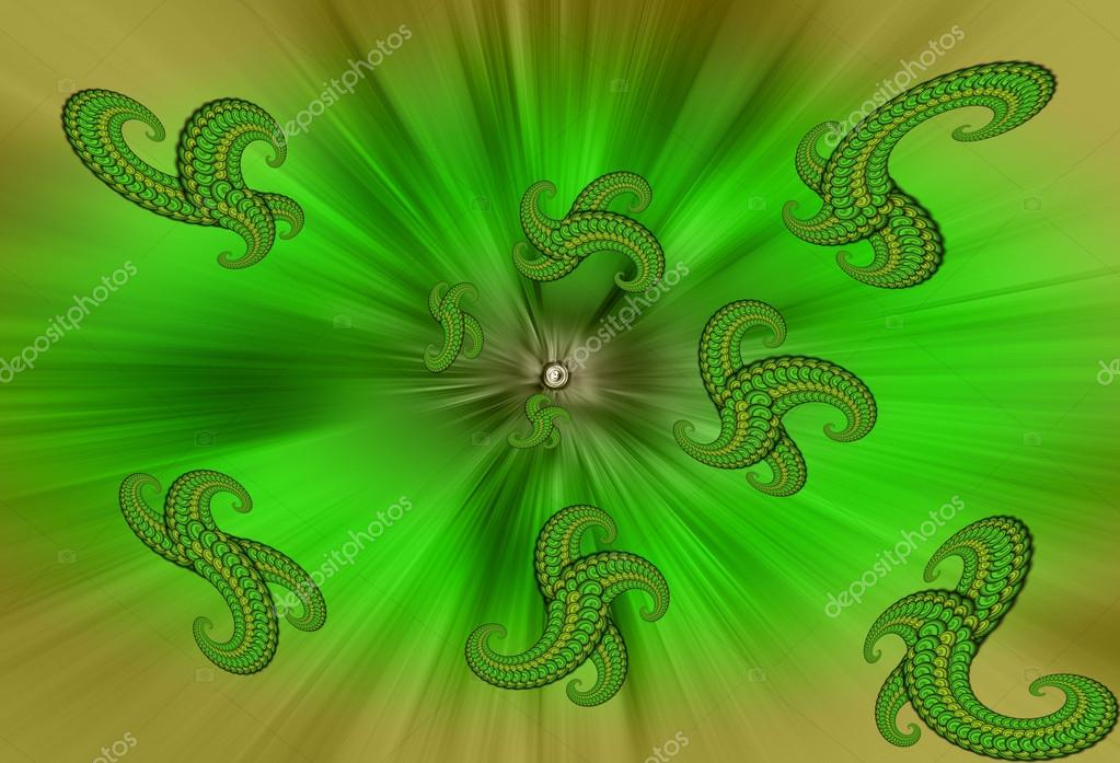 "Abstract background is in shades of green with fractals. several ""scaly octopuses"" rise from the depths to the surface in the rays of a point source of light — Stock Photo #12129867"