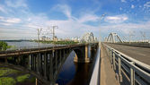 Bridges over the Dnieper River — Stock Photo