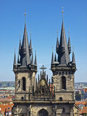 Two spires of Tyn Church — Stock Photo