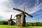 Two old wooden windmills — Stock Photo