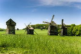 Old wooden windmills — Stock Photo