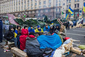 Students are heated by the fire on the Maidan in Kiev — Stock Photo