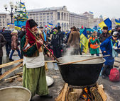 Everyday life on the Maidan in Kiev — Stock Photo