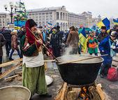 Everyday life on the Maidan in Kiev — Stock Photo